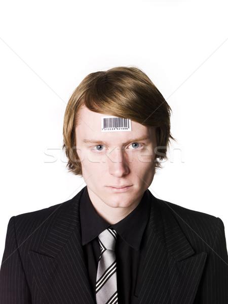 Férfi vonalkód arc fiatalság fehér nyakkendő Stock fotó © gemenacom