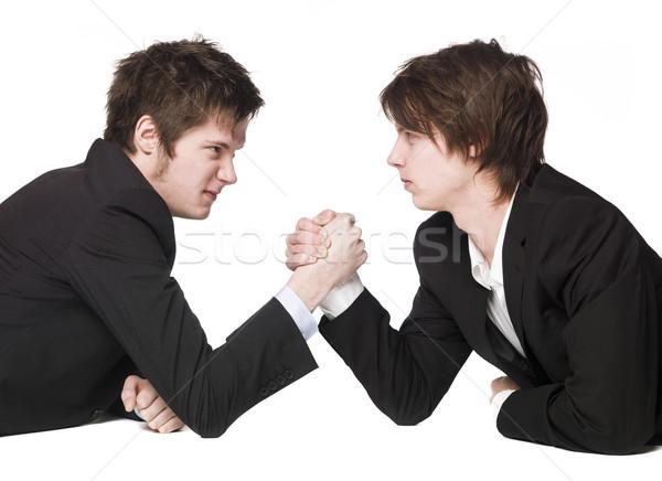 Arm worstelen handen pak shirt spel paar Stockfoto © gemenacom