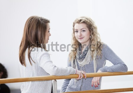 Stock photo: two girls in a conversation