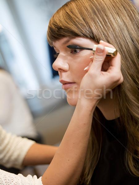 Smink helyzet szépségszalon mosolyog gyönyörű fotózás Stock fotó © gemenacom