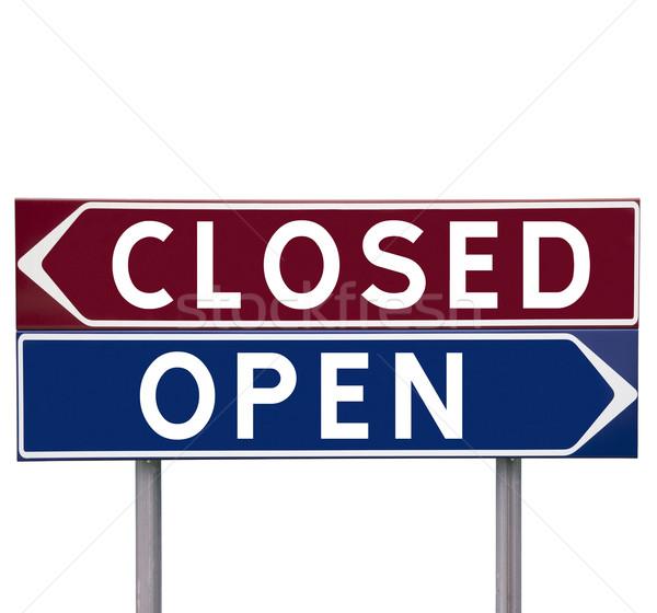 Abierto cerrado dirección signos elección aislado Foto stock © gemenacom