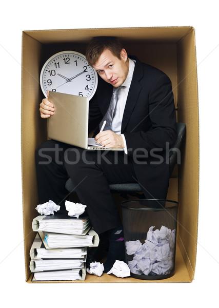 Imprenditore stretto ufficio isolato bianco business Foto d'archivio © gemenacom