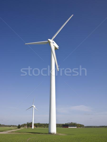 Szél elektromos erőmű kék ég felhők Stock fotó © gemenacom