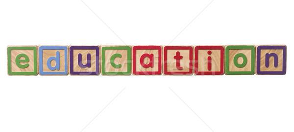 Kelime eğitim oynamak bloklar yalıtılmış beyaz Stok fotoğraf © gemenacom
