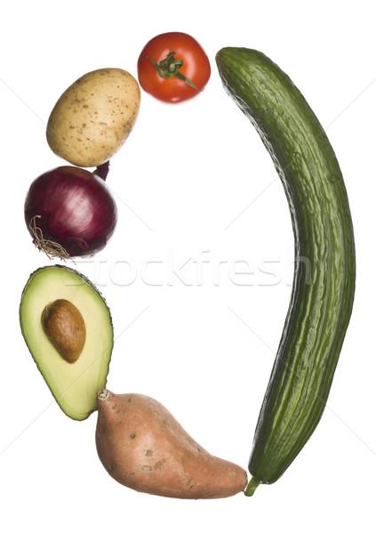 O betű ki zöldségek izolált fehér iskola Stock fotó © gemenacom