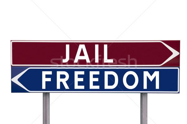 Cárcel libertad dirección signos elección aislado Foto stock © gemenacom