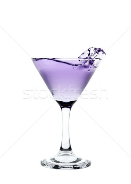 Lila folyadék csobbanás martinis pohár izolált fehér Stock fotó © gemenacom