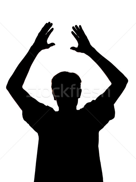 silhouette of a boy clapping his hands Stock photo © gemenacom