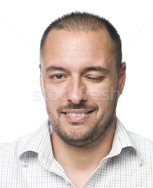 Portré férfi egy szem zárva Stock fotó © gemenacom