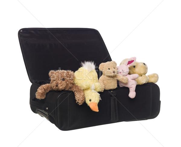 Bőrönd játék állatok izolált fehér utazás Stock fotó © gemenacom