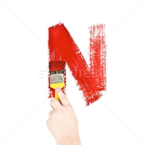Festmény n betű fehér fal terv művészet Stock fotó © gemenacom