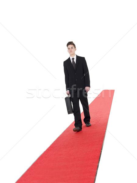 ビジネスマン レッドカーペット 徒歩 孤立した 白 エネルギー ストックフォト © gemenacom
