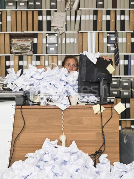 Overloaded Businesswoman Stock photo © gemenacom