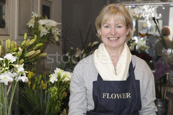 Fleuriste magasin fleurs souriant caméra affaires Photo stock © gemphoto
