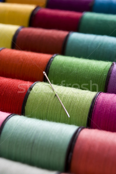 Coton couleurs rangée aiguille Photo stock © gemphoto