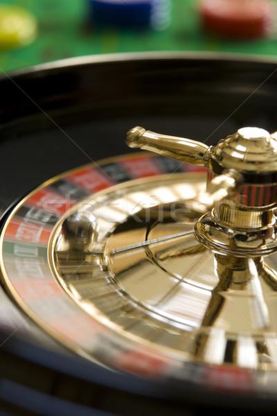 Roleta dinheiro bola vermelho roda jogo Foto stock © gemphoto