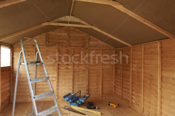 Intérieur échelle nouvellement outils étage bois Photo stock © gemphoto