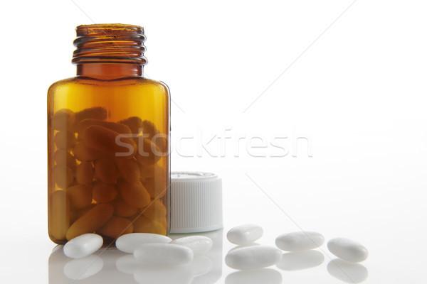 Pilules blanche bouteille espace copier médicaments Photo stock © gemphoto