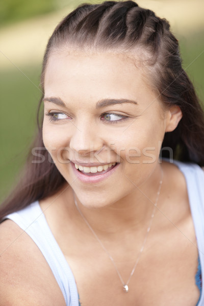 smiling girl with braided hair Stock photo © gemphoto