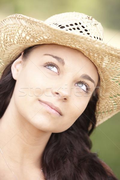 Fille été chapeau portrait souriant Photo stock © gemphoto
