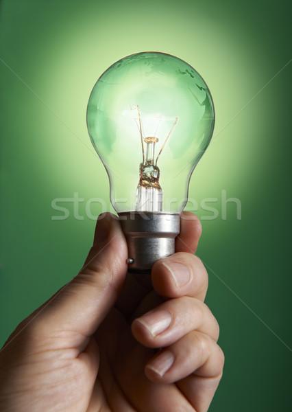 Zielone żarówki świecie strony działalności Zdjęcia stock © gemphoto