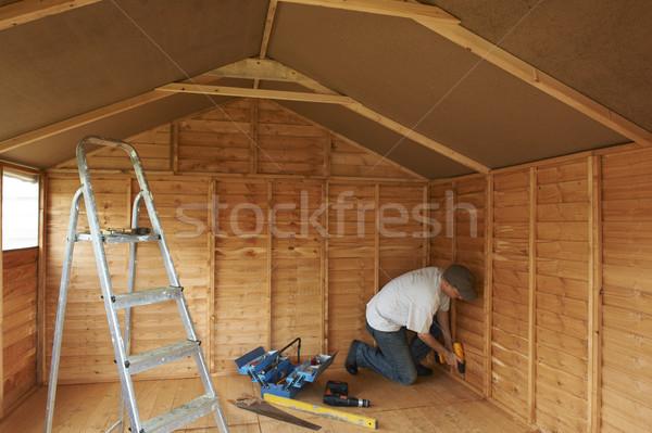 Constructeur travail bois construction pouvoir outils Photo stock © gemphoto