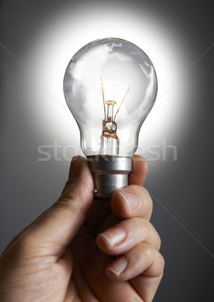 Ampoule main gris monde monde Photo stock © gemphoto