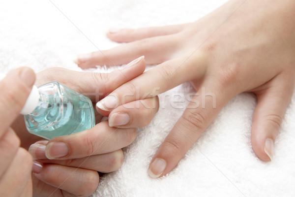 Nagel vernis vinger nagels witte handdoek Stockfoto © gemphoto