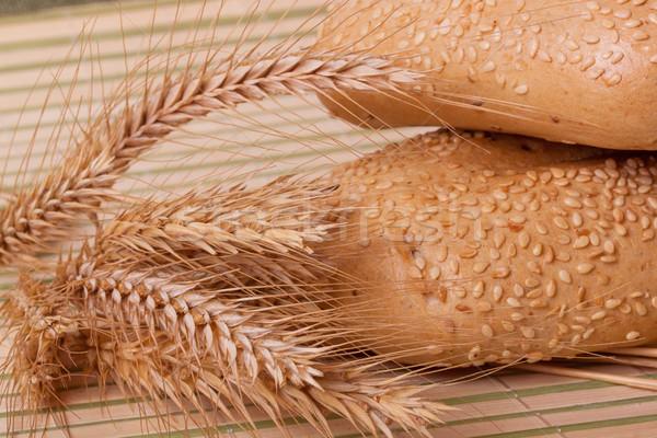 Twee tarwe bamboe achtergrond ontbijt eten Stockfoto © GeniusKp