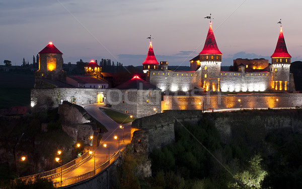 Stock photo: Night panoramic view of medieval half-ruined castle