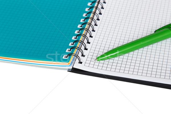 Open notebook with green pen Stock photo © GeniusKp