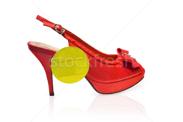 Rood schoen Geel label geïsoleerd witte Stockfoto © GeniusKp