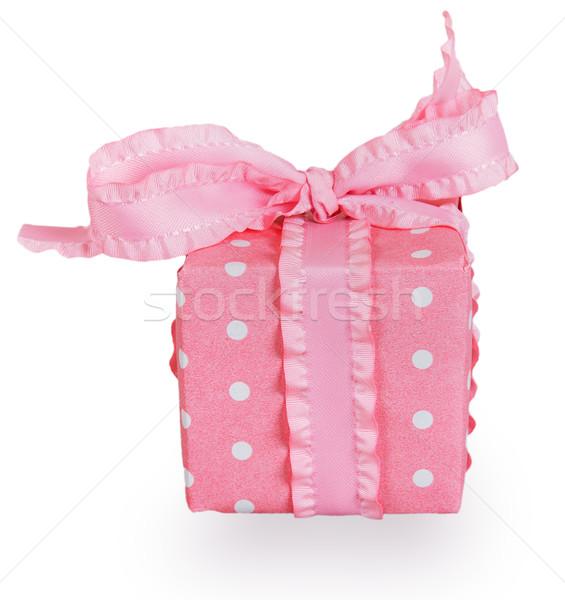 Rosa scatola regalo arco isolato bianco carta Foto d'archivio © GeniusKp