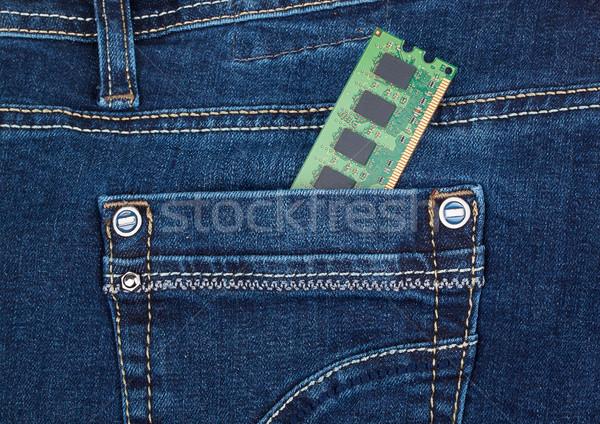Emlék modul zseb farmernadrág zöld kék Stock fotó © GeniusKp