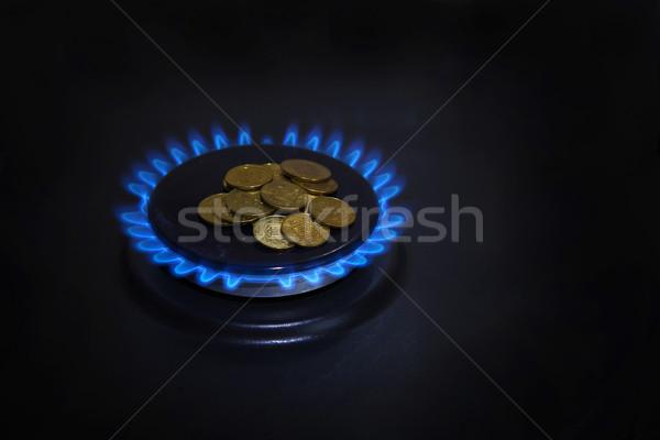 Blau Flammen Erdgas Brennen Gas Herd Stock foto © GeniusKp