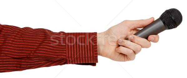 Hand Rood shirt microfoon geïsoleerd Stockfoto © GeniusKp