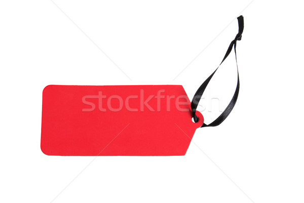Red paper label with ribbon Stock photo © GeniusKp