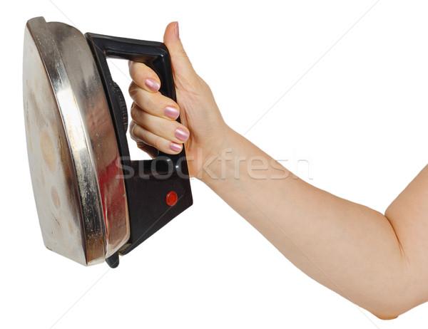 Oude ijzer vrouwelijke hand geïsoleerd witte Stockfoto © GeniusKp