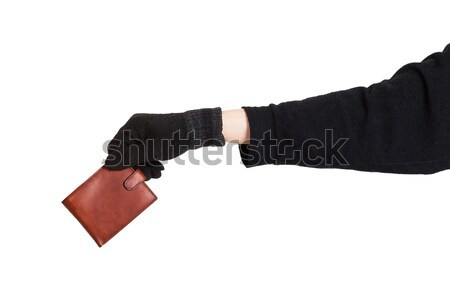 Thief holding a brown leather purse Stock photo © GeniusKp