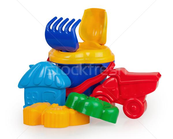 Plástico balde jogar areia isolado branco Foto stock © GeniusKp