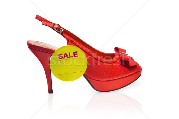 Rood schoen Geel label verkoop geïsoleerd Stockfoto © GeniusKp