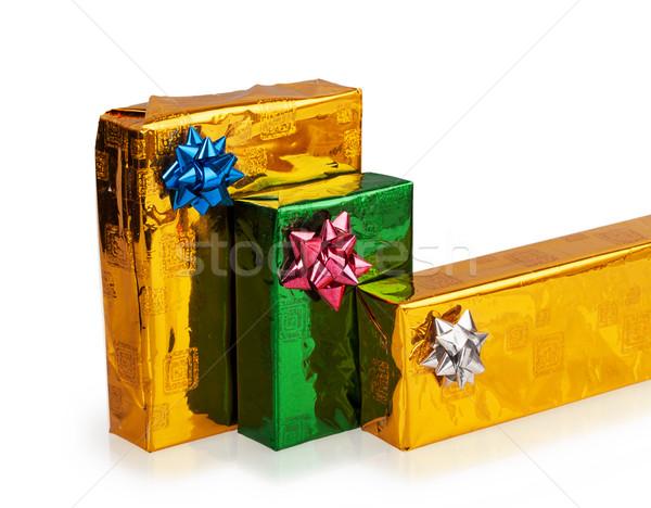Três belo caixas presentes isolado Foto stock © GeniusKp