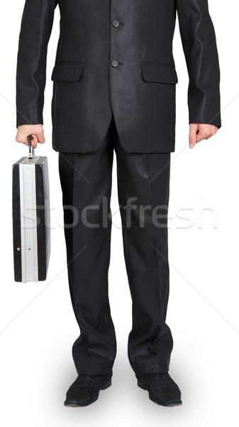Férfi fekete öltöny fekete tok fehér kéz Stock fotó © GeniusKp