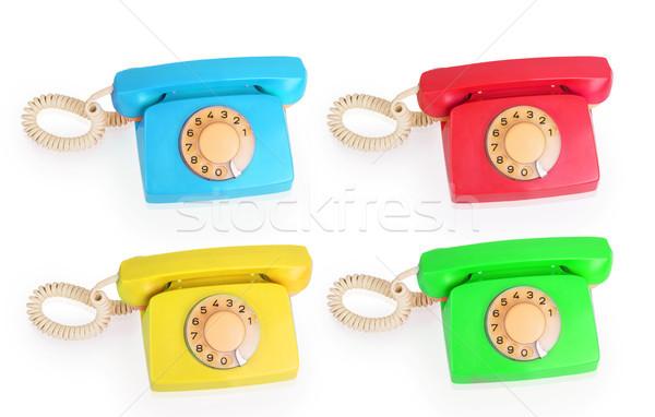 Ayarlamak parlak renkli telefonlar yalıtılmış beyaz Stok fotoğraf © GeniusKp