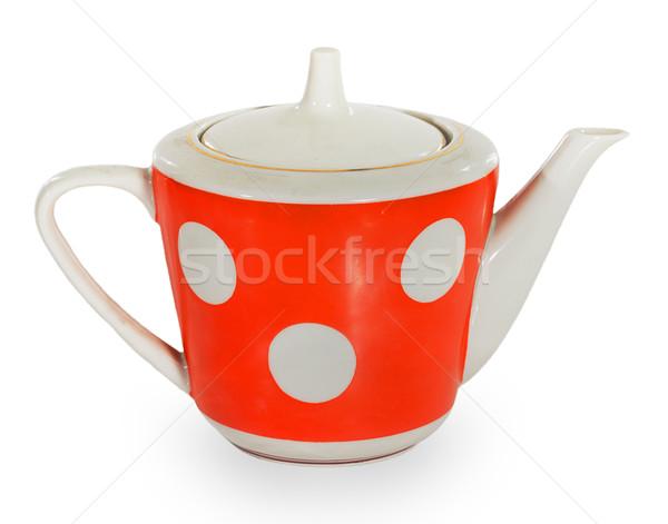 Rood witte theepot geïsoleerd keuken drinken Stockfoto © GeniusKp
