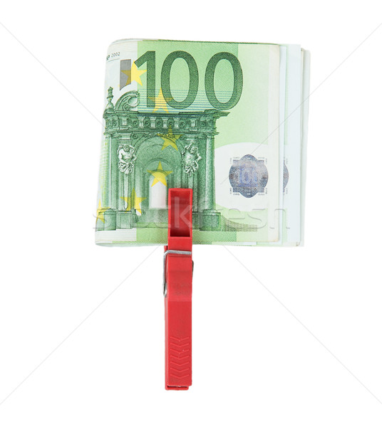 Euro bills held together by a red clothespin Stock photo © GeniusKp