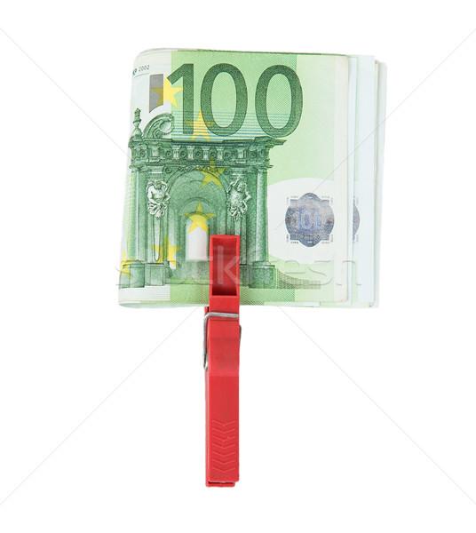 Euro juntos vermelho prendedor de roupa isolado Foto stock © GeniusKp