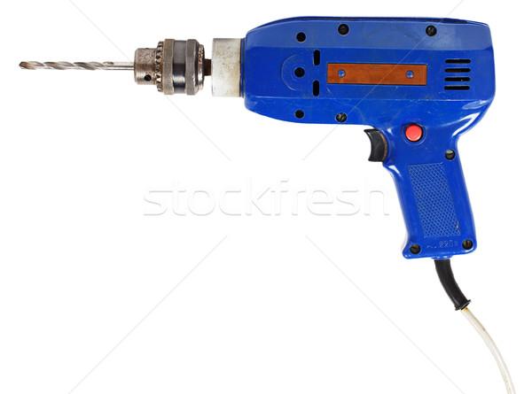 Azul elétrico três de um tipo isolado branco construção Foto stock © GeniusKp