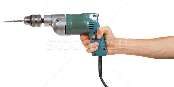Hand boor geïsoleerd witte bouw werknemer Stockfoto © GeniusKp