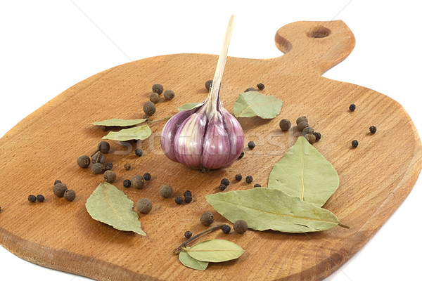 garlic with the bay leaf and pepper Stock photo © GeniusKp